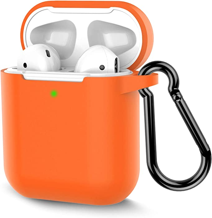 Coffea Protective Silicone Case with Keychain for Apple AirPods 2 (Vibrant Orange)