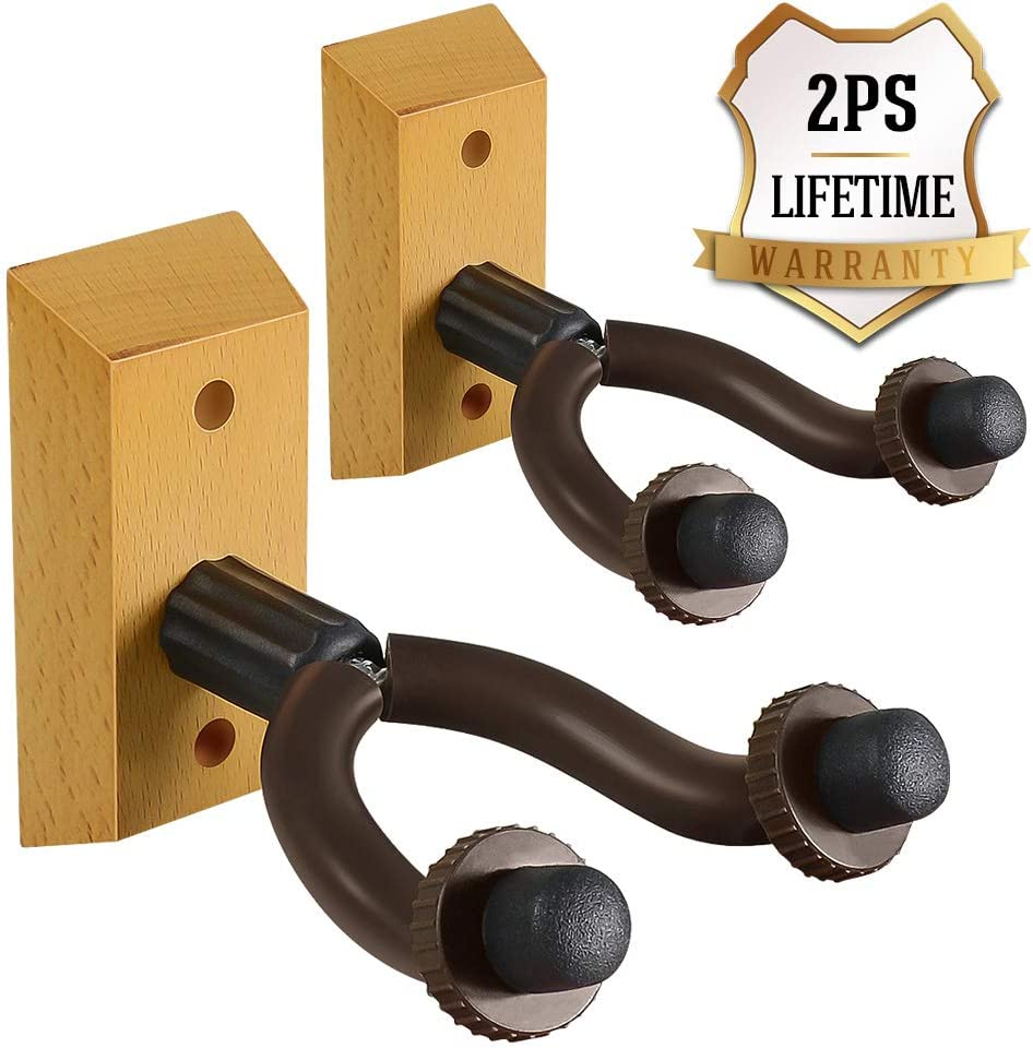ZIONOR Guitar Wall Mount Wood Guitar Stand Home Studio Guitar Hanger For Acoustic Classical Electric Bass Ukulele Guitar Wall Hanger-2 Pack