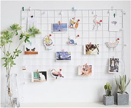 ShouYu DIY Grid Panel Foto pared, Ins Mesh pared, Multi Función rejilla pared decoración, Memo Tabla organizador estantería, White 65, 65×45