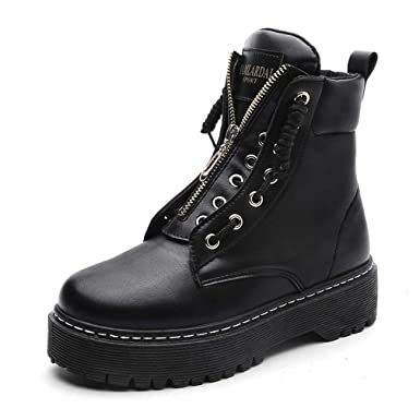1bfccc369a860 Amazon.com: Zip Flat Ankle Boots Women PU Leather Motorcycle Boots ...