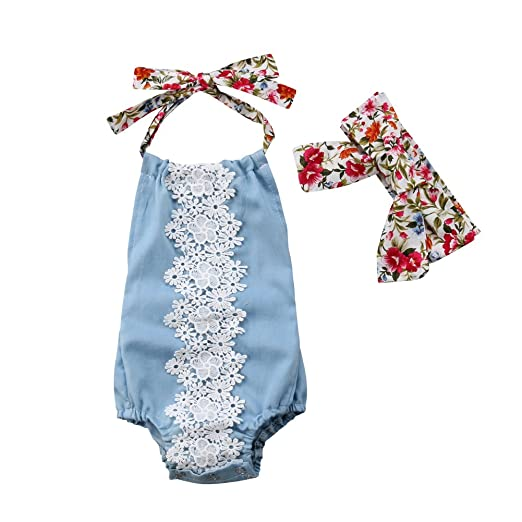 33ad366f6 Amazon.com  Newborn Baby Girl Lace Bodysuit Floral Halter Backless ...