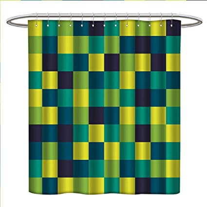 Zojihouse Yellow And Blue Shower Curtains Mildew Resistant Vivid Colored Squares Funky Simple Retro Style Grid