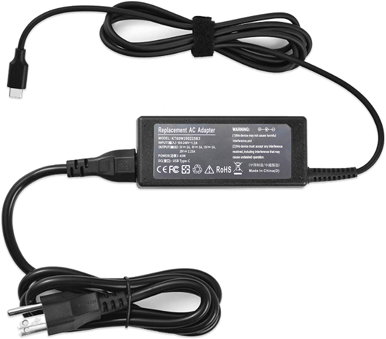 45W USB/Type C Mini Charger Ac Adapter for HP Chromebook X360 14 14A G5 14-ca061dx 14-ca020nr Dell XPS 13 9365 9370 9380 Lenovo C330 100e 300e 500e Chromebook 20V 2.25A