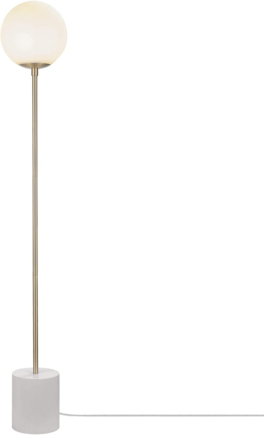Globe Electric Celestia 63 Floor Lamp Matte Brass Frosted Glass Shade White Cylinder Base