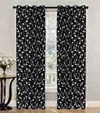 2 Piece Set LUI Window Panels Embroidered Grommet Top Decorative Curtains, 54″x84″ & 54″x95″ (54″x95″, Black Green) For Sale