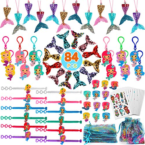 Qunan 84 Pcs Mermaid Party Favors Supplies Mermaid Tail Necklace Mermaid Bracelet Rings Hair Clip Sticker Gift Bag Mermaid Accessories Kit for Girls Mermaid Party Supplies]()