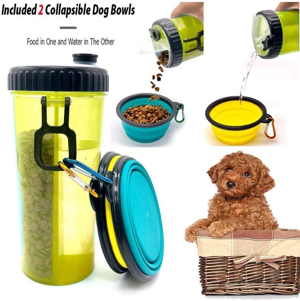 Botella de Agua de Viaje para Mascotas -Recipiente de Agua para de Viaje Portátil Antibacteriano a Prueba de Fugas Botella de Doble Cámara 2 en 1 con 2 Bandejas Plegables Perros Alimentador de Gatos