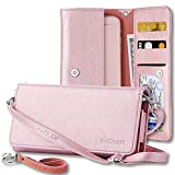 galaxy blaze cover - Wallet+Charm+Crossbody Strap+Wrist Strap+Key Ring Fits Apple ZTE Samsung Universal Synthetic Leather Bag Purse Clutch Case, - Rose Gold. Compatible Cell Phone/Device Models: