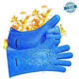 BBQ Gloves, Heat Resistant Silicone Gloves for Cooking / Barbecue / Grilling / Kitchen / Oven / Stove / Frying and Baking - Set of 2 Waterproof Non-Slip Oven Mitt ( Hand Wrist Protection )