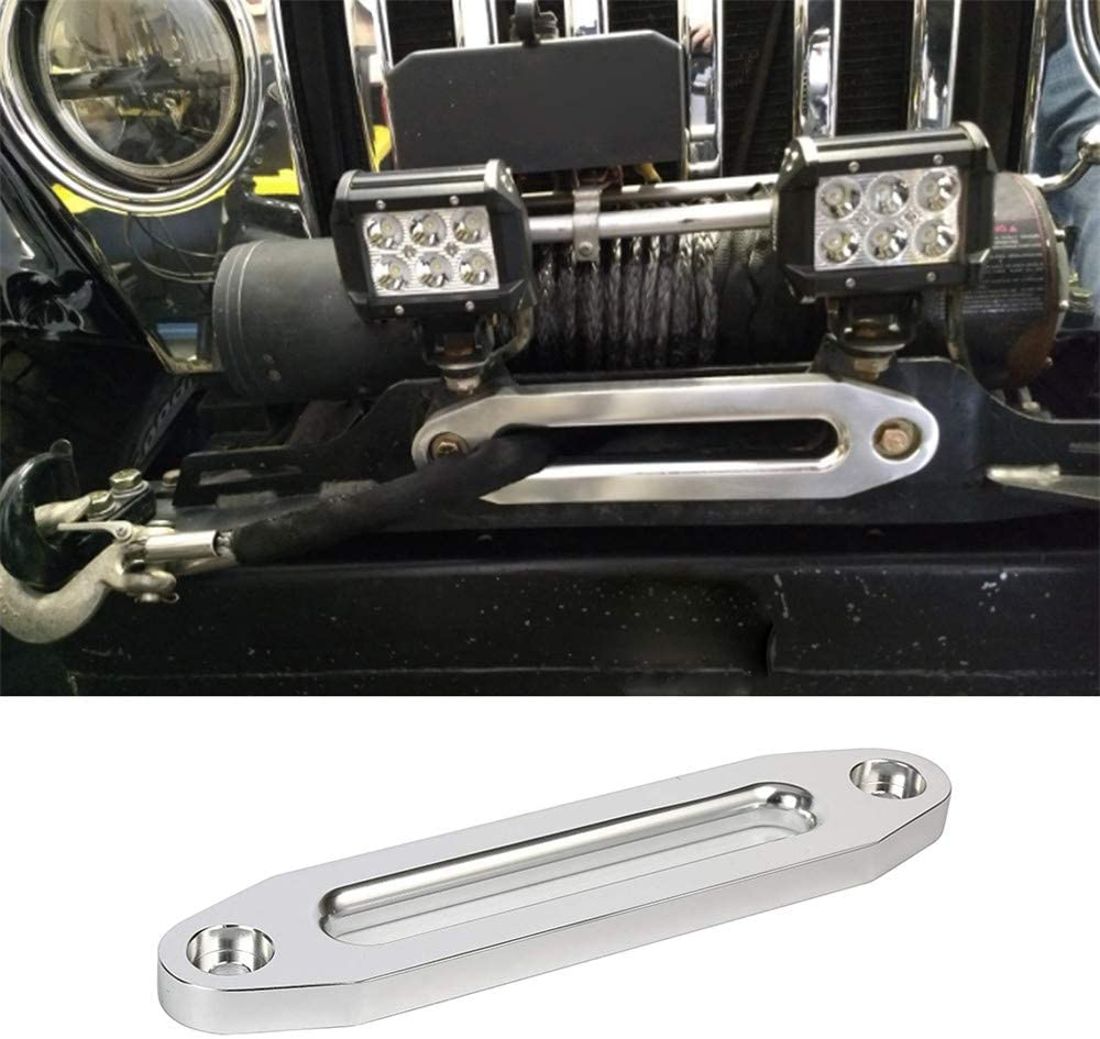 10inch Universal Hawse Fairlead Billet Aluminum Polished Winch Rope Guider Replacement Suitable for 8000-15000 Lbs Capacity Cable