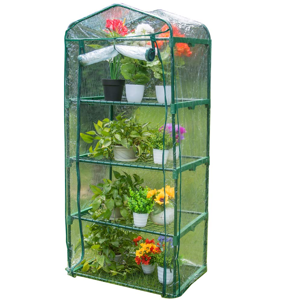 Sundale Outdoor Gardening Portable Mini Green House with 4 Tier 4 Shelf and PVC Cover, Waterproof Hot Green House, 27''(L) x 19''(W) x 63''(H) by Sundale Outdoor
