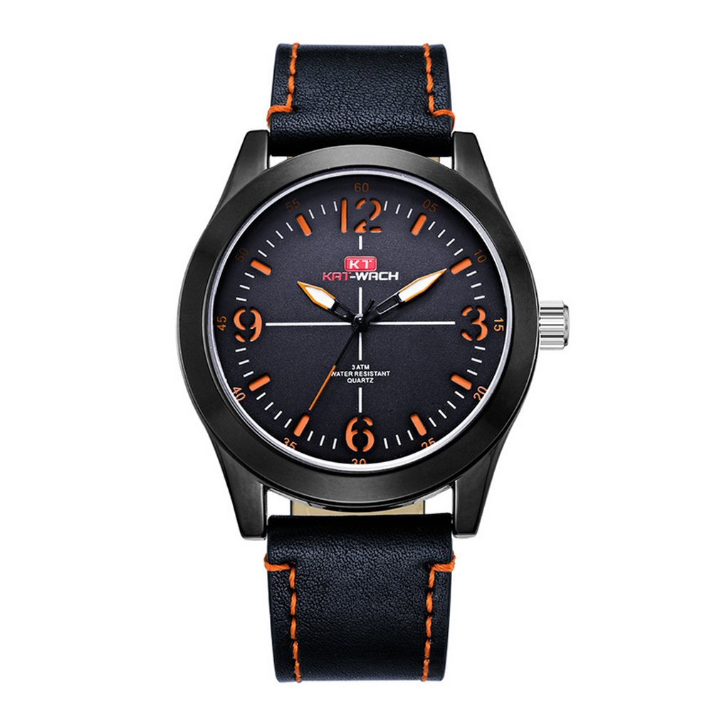 Men's Wrist Watches,Luminous Business Quartz Faux Leather Watch Orange Strap with Stainless Steel Mesh Dial and 164ft Water Resistant
