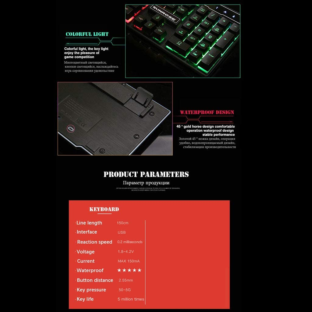 ️ Yu2d ❤️❤️ ️Gaming Keyboard Mechanical Feeling Keyboard with Backlight Russian Wired Keyboard