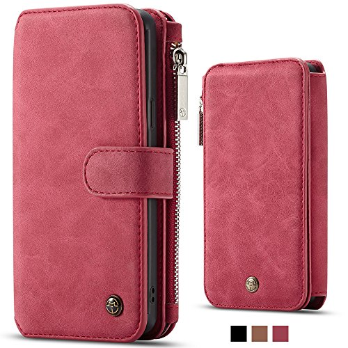 Samsung Note 9 Leather Wallet Magnetic Phone Case Wallet Detachable Protective Flip Cover with Card Holder, Red