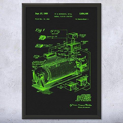 Framed Eckdahl Computer Art Print, Tech, Technology Gift, Engineer Gift, Engineering Gift, Geek Gift, Patent Print Terminal (12' x 16')