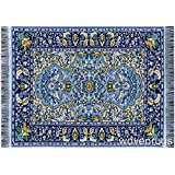 Beautiful Blue Oriental Woven Rug Mousepad   Oriental Carpet Computer  Mousemat Miniature
