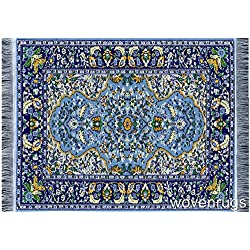 Beautiful Blue Oriental Woven Rug Mousepad - Oriental Carpet Computer Mousemat Miniature