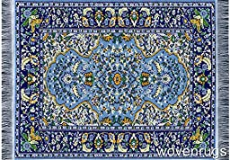 Beautiful Blue Oriental Woven Rug Mousepad - Oriental Carpet Computer Mousemat Miniature