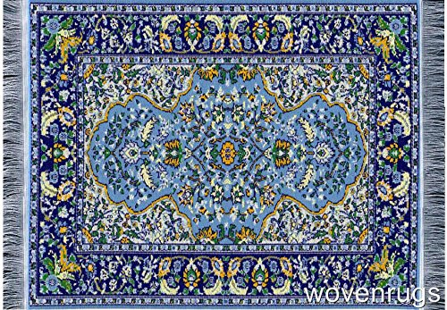 Beautiful Blue Oriental Woven Rug Mousepad - Oriental Carpet Computer Mousemat Miniature -