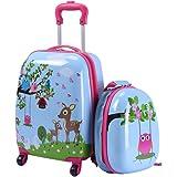 "Goplus 2Pc 12"" 16"" Kids Upright Hard Side Carry On Luggage Set"