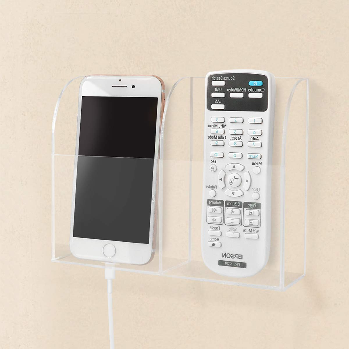 Uoisaiko Remote Control Holder Wall Mount Acrylic Remote Caddy Media Controller Organizer TV Remote Holder Wall Adhesive Storage Box