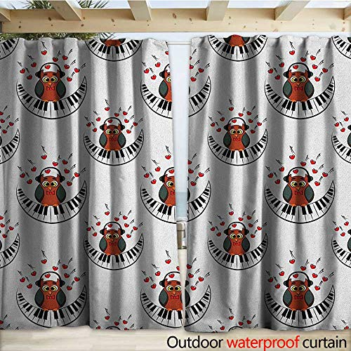 - warmfamily Owls Blackout Curtain Musician Pianist Owl with Headphones and Playing a Moon Shaped Piano Clipart Style W108 x L96 Brown Grey Red