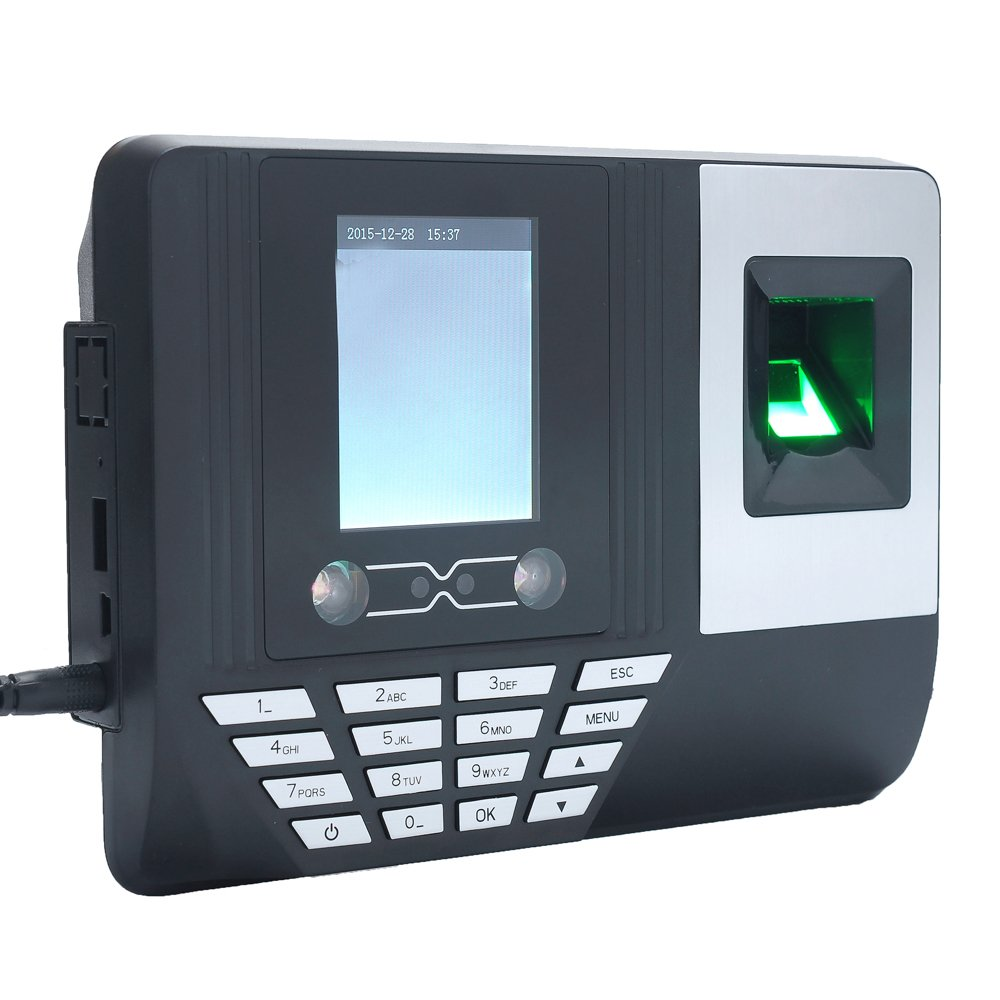 Aibecy Face Fingerprint Password Attendance Machine Employee Checking-in Payroll Recorder 2.8 inch LCD Screen DC 5V Facial Recognition Time Attendance Clock