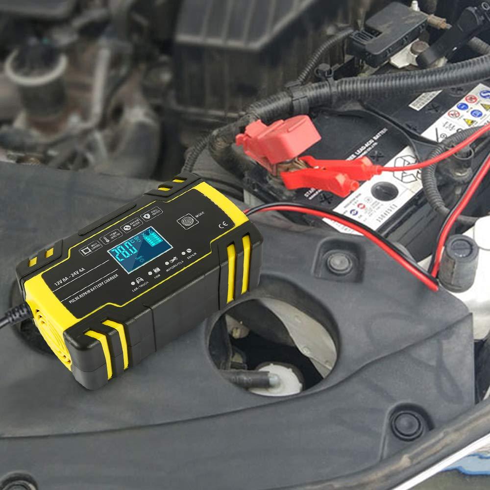 Motorrad usw. Mehrfachshutz f/ür Auto Comficent Batterie Ladeger/ät Vollautomatisches Batterieladeger/ät mit LCD Display 12V//8A 24V//4A