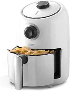 Dash DCAF150GBWH02 Compact Air Fryer Oven Cooker with Temperature Control, Non Stick Fry Basket, Recipe Guide + Auto Shut off Feature, 2qt, White