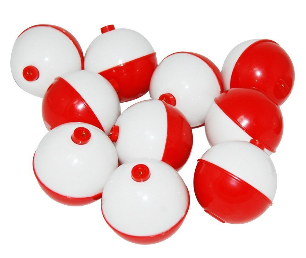 JSHANMEI Fishing Bobbers Hard ABS Snap-on Floats Red & White Push Button Round Float Bobbers Fishing Tackle Accessories Jasmine