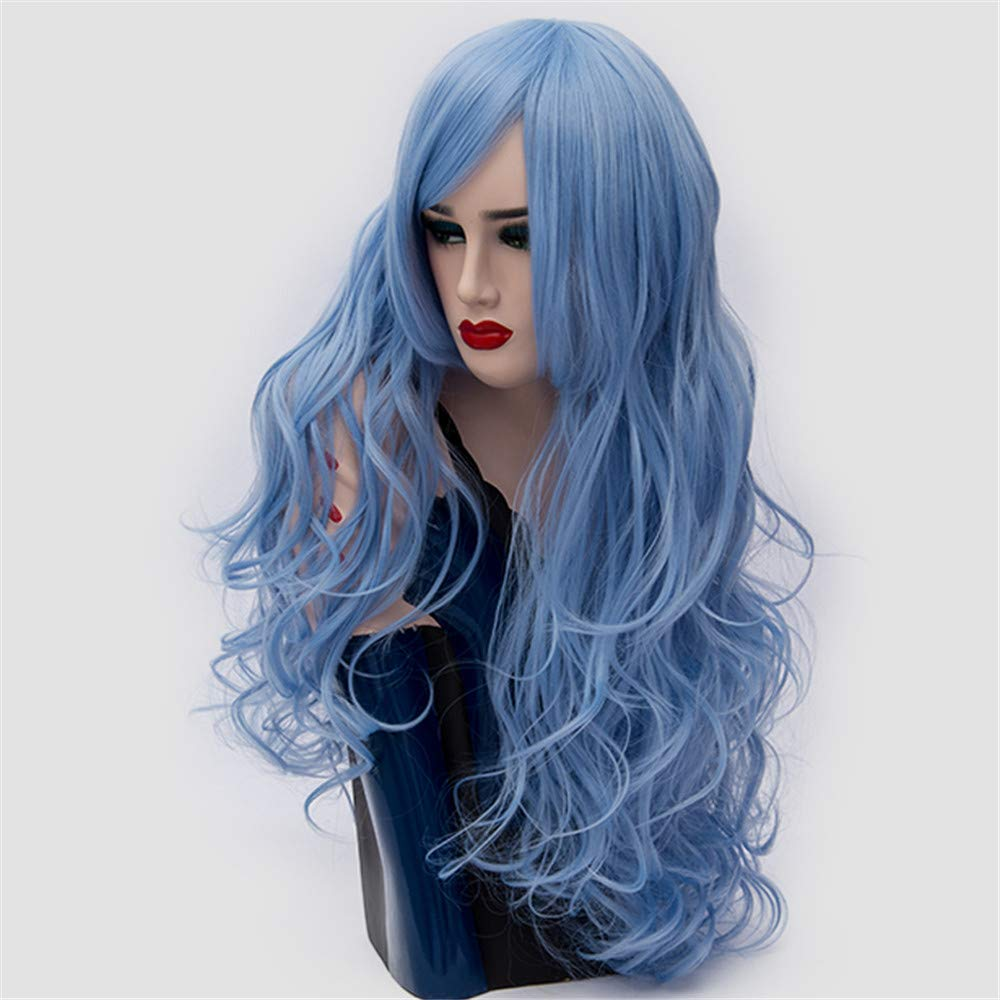 LONGLOVE European and American Wigs European and American Fashion Big Wave Long Curly Hair (Sky Blue) by LONG LOVE (Image #4)