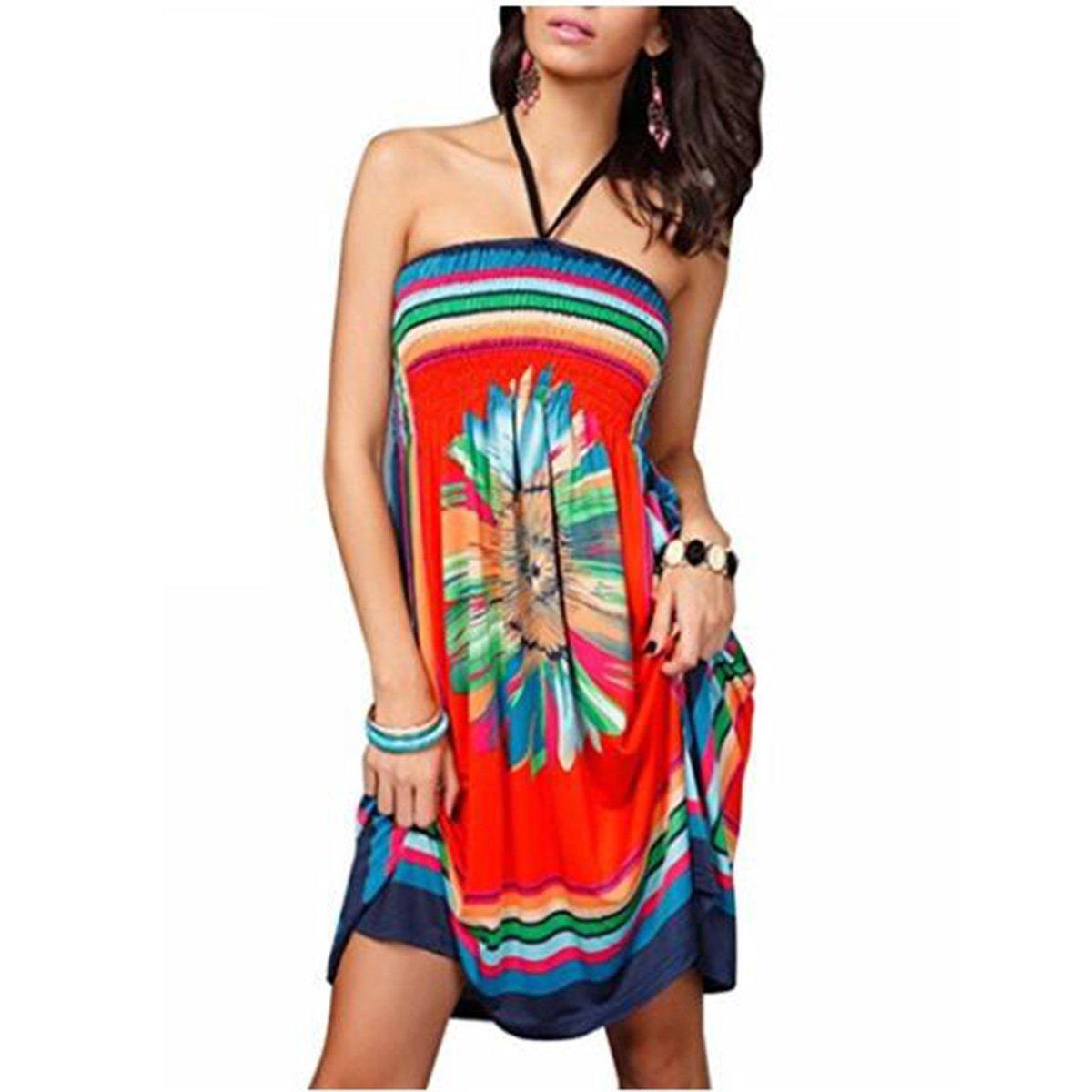 oboss Women Swimsuit Cover up Strapless Ethnic Boho Bandeau Beach Sun Dress Bathing Suit (Style 03-Orange)