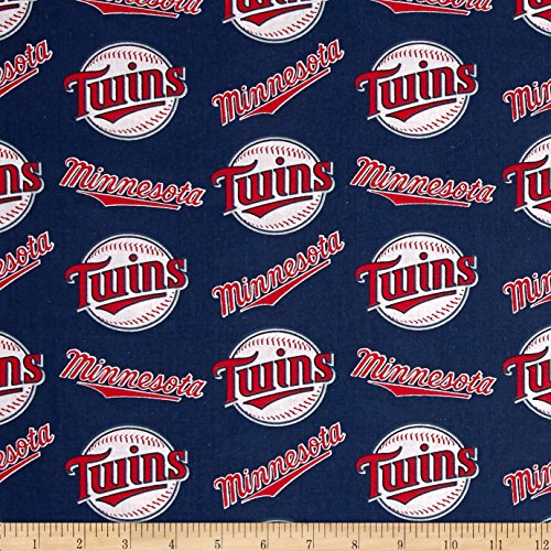Minnesota Twins Fleece - Fabric Traditions MLB Cotton Broadcloth Minnesota Twins Red/White Fabric By The Yard
