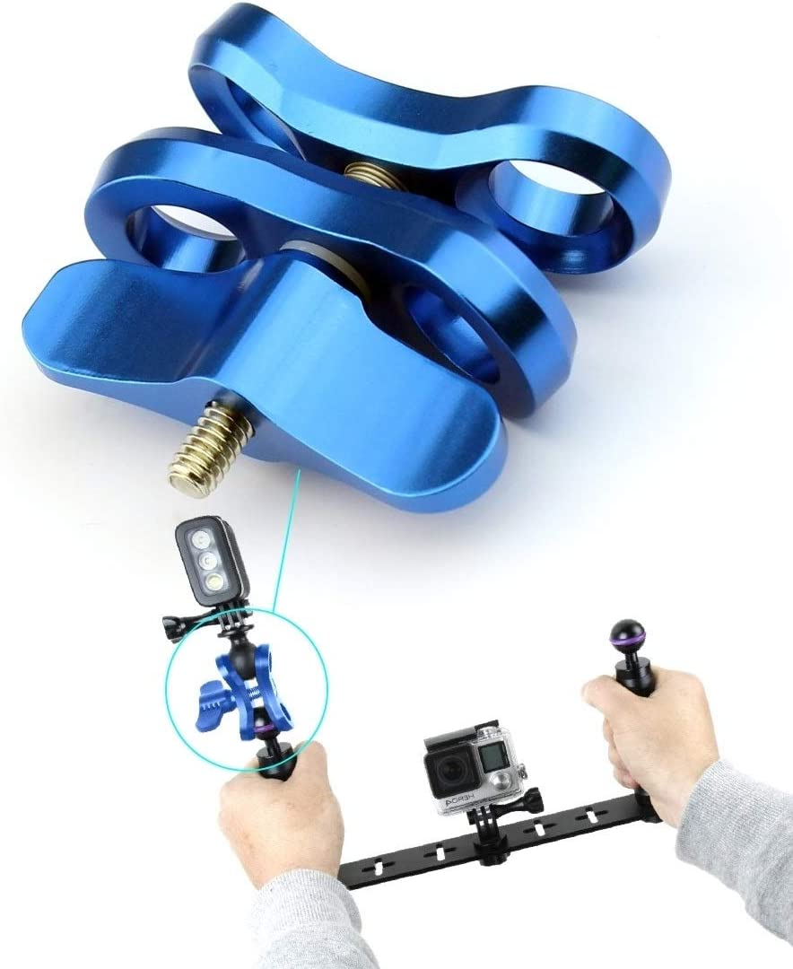 Color : Blue Ball Clamp Close Hole Diving Camera Bracket CNC Aluminum Spring Flashlight Clamp for Diving Underwater Photography System Durable