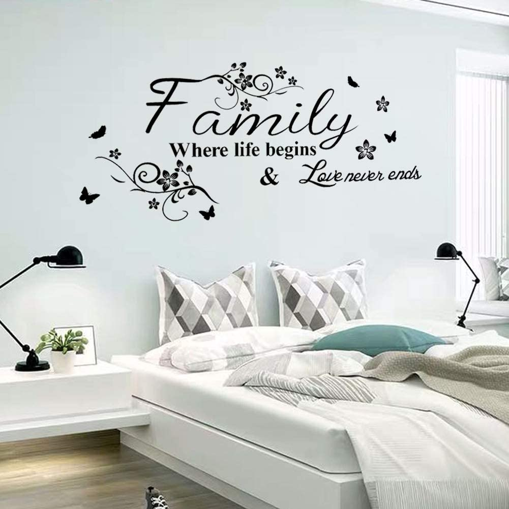 Tbrand Wall Sticker for Family,Wall Decor Warmly for Living Room, Quote Family Where Life Begins & Love Never Ends Art Wall Decal,Home Decor.
