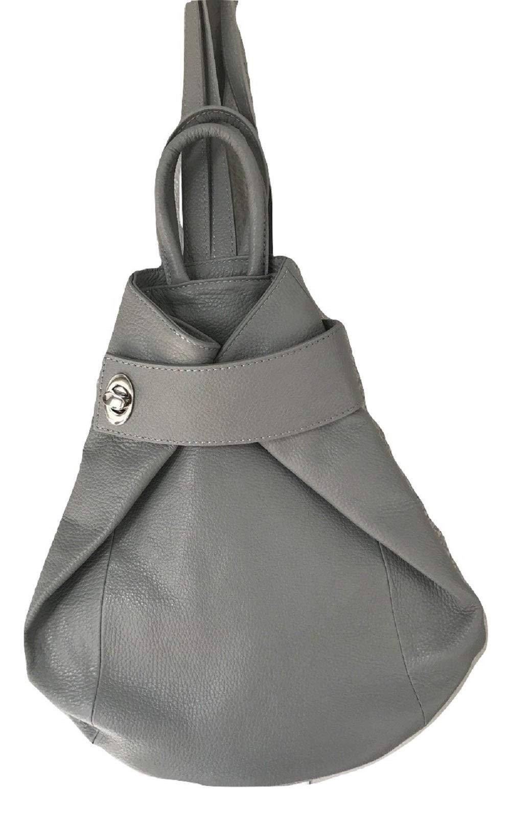 LaGaksta Stella Italian Leather Backpack Purse and Shoulder Bag/Grey