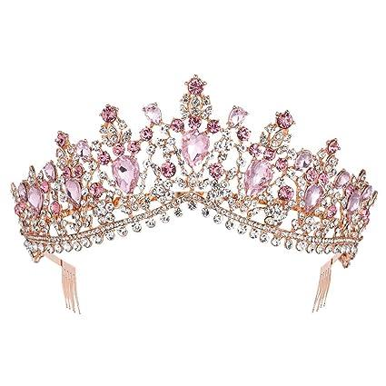 Amazon.com: Tiara de cristal con diamantes de imitación para ...