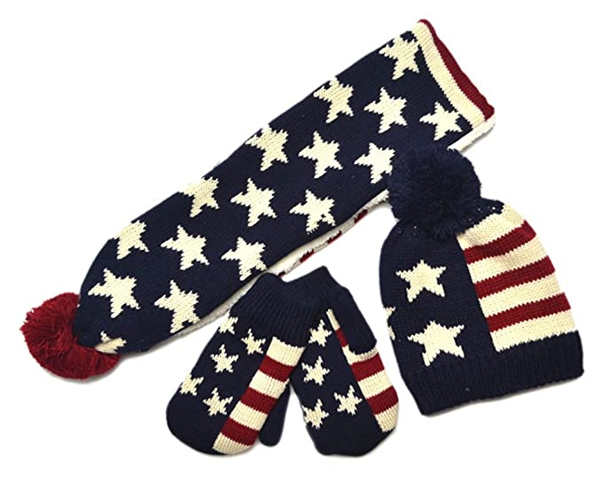 37563d470a7 Amazon.com  AnVei-Nao Kids USA American Flag Winter Warm Double Knit Scarf  Hats Gloves Set  Clothing
