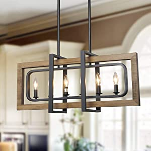 """LOG BARN 6 Lights Farmhouse Island Pendant Chandelier in Distressed Wood and Matte Black Metal Finish, 31.5"""" Large Kitchen Light Fixture, A03429"""