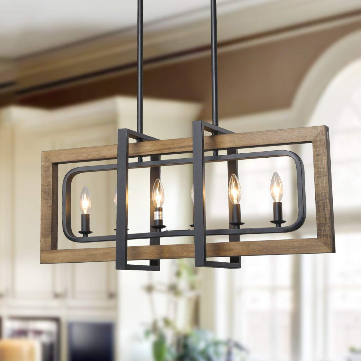 LOG BARN 6 Lights Farmhouse Island Pendant Chandelier in Distressed Wood and Matte Black Metal Finish, 31.5'' Large Kitchen Light Fixture, A03429