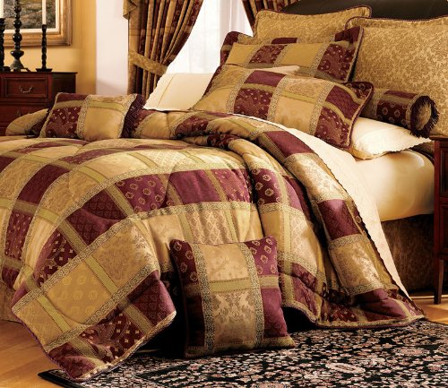 7 Piece Burgundy Jewel Patchwork Comforter Set Queen - Gold Queen 7 Piece Comforter