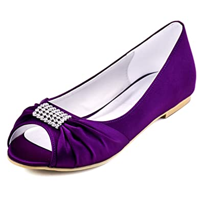 ElegantPark EP2053 Women Peep Toe Rhinestones Comfort Flats Pleated Satin Wedding Bridal Shoes Purple US 7