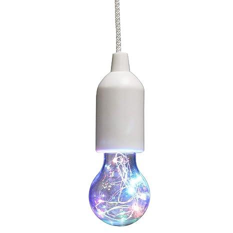 Global Gizmos - Bombilla LED con cuerda (luz de tracción), color blanco