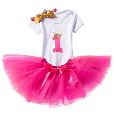 5109fdb217 Newborn Baby Infant Toddler Girls It's My 1st/2nd Birthday Cake Smash Shiny  Printed Sequin Princess Dress Romper Tutu Skirt with Bowknot Headband 3pcs  ...