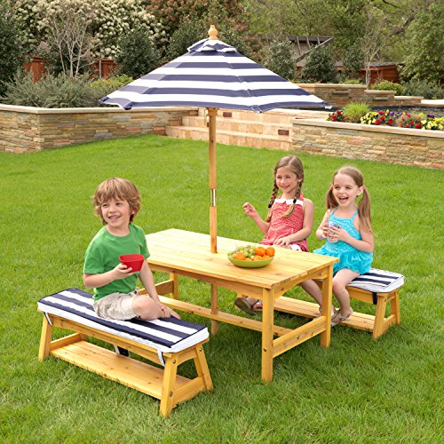 Amazon kidkraft outdoor table and chair set with cushions and amazon kidkraft outdoor table and chair set with cushions and navy stripes toys games watchthetrailerfo