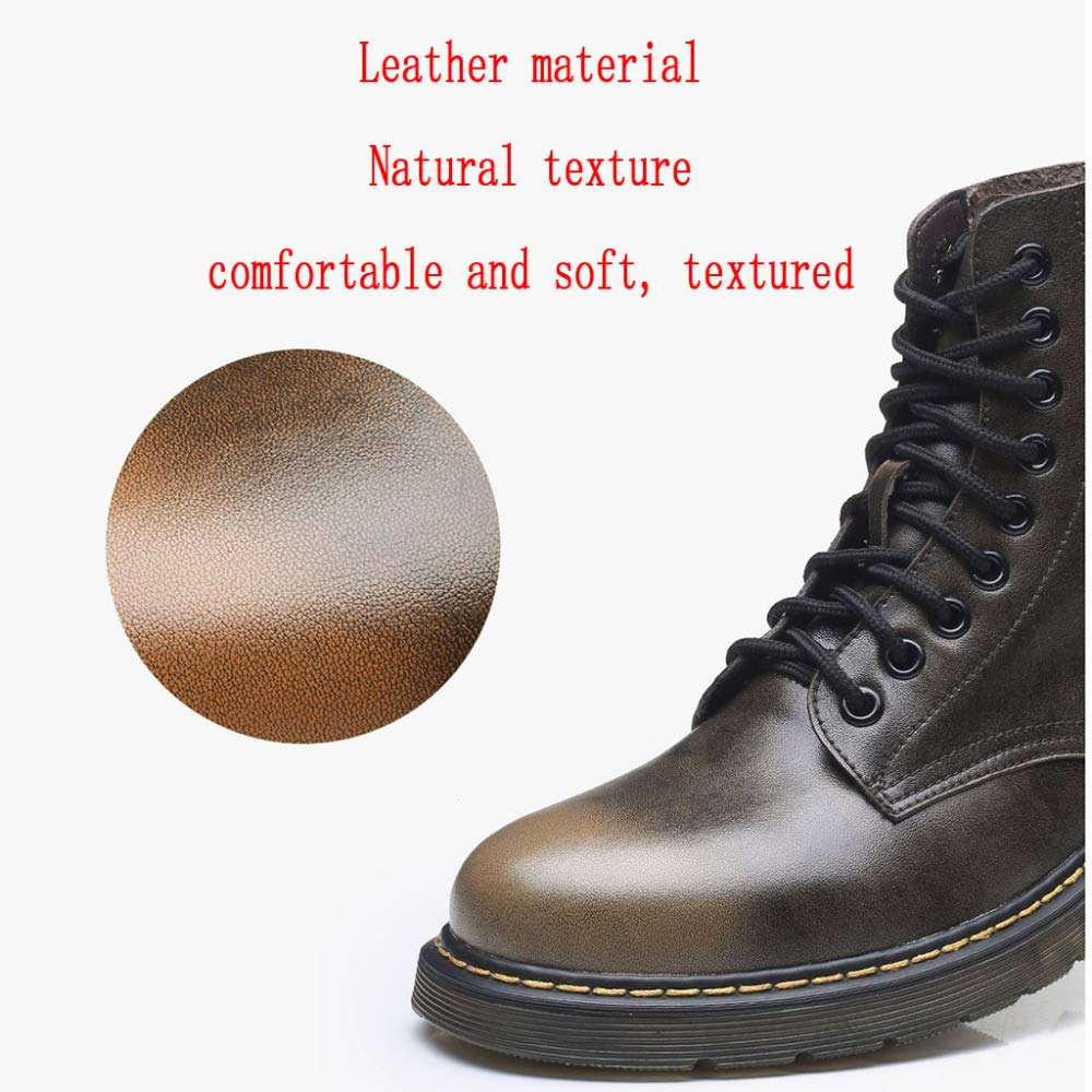 AALHM Martin Boots Mens Adult Boots Lamper Classic Leather Military Shoes Autumn and Winter Plus Velvet Leather Outdoor Non-Slip Breathable Boots Wear Resistant