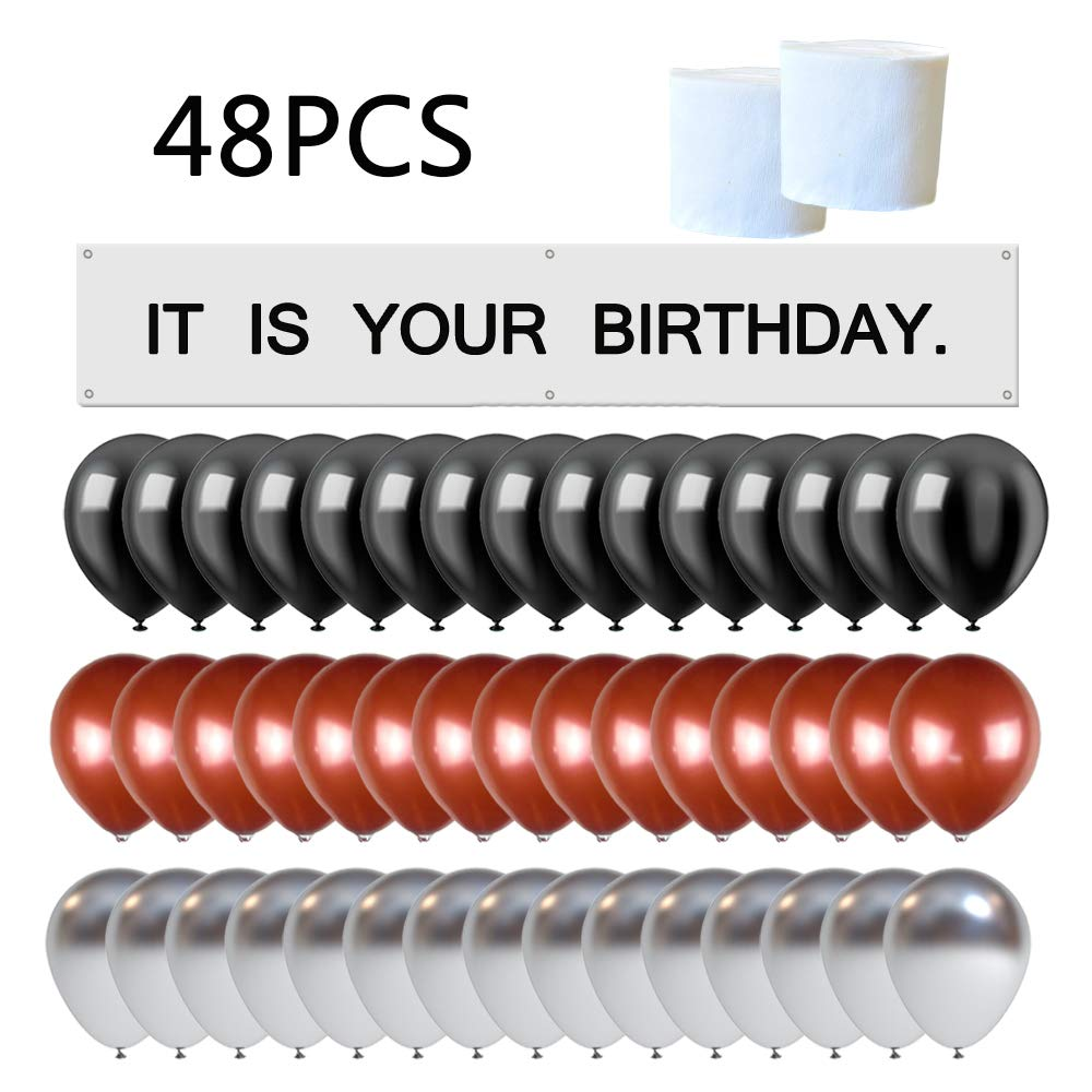 It is Your Birthday. Banner The Office Birthday Decoration Brown Black Silver Balloons White Crepe Streamers Dwight Birthday Banner Set Decorations by YNOU