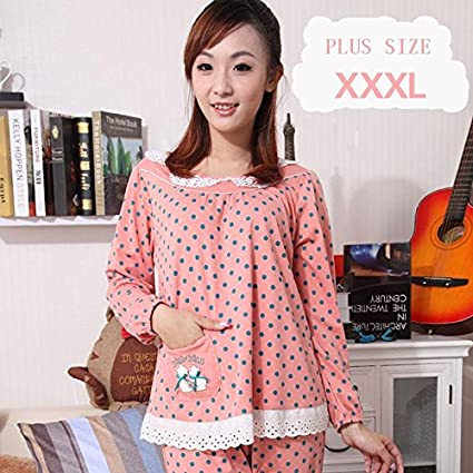 9a01ba6178 Amazon.com  MH-RITA Plus Size Xxxl Pajamas Sets For Women Autumn And Winter  Women S Pajamas 100% Cotton Sleepwear Lover Night Suits Xnf2517-737-1