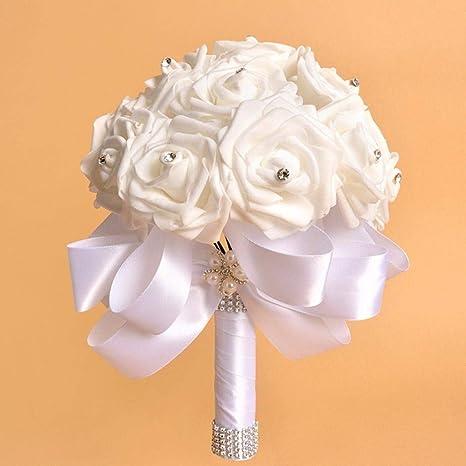 Crystal Roses Pearl Bridesmaid Wedding Bouquet Bridal Artificial Silk Flowers