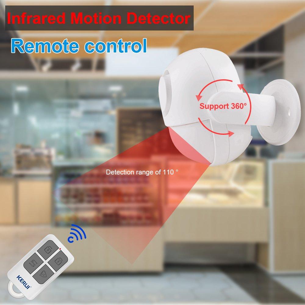 Mini sensor de movimiento inalámbrico Kerui con control remoto, con mando a distancia, para seguridad en tiendas o casas, color blanco, sistema de alerta: ...